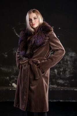 Plášť norek ,límec liška - 2