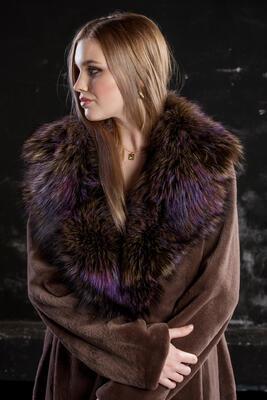 Plášť norek ,límec liška - 5